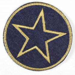 Iron-on patches around jeans with an embroidered star in gold, iron-on ideal as a knee patch