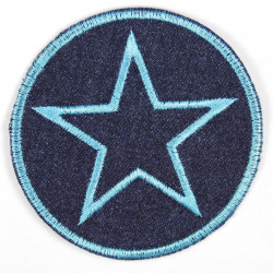 Iron-on patches around jeans with an embroidered star in turquoise, iron-on patch ideal as a knee patch
