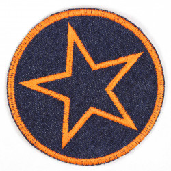 Iron-on patches around jeans with an embroidered star in neon orange, patches ideal as knee patches