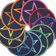Flickli rund mit Stern neonorange