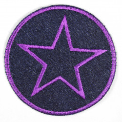 Iron-on patches around jeans with an embroidered star in purple, iron-on patch ideal as a knee patch