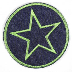 Iron-on patches around jeans with an embroidered star in light green, iron-on patch ideal as a knee patch