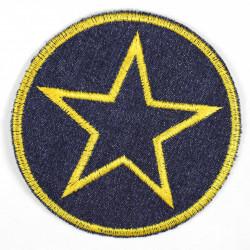 Flickli rund mit Stern gelb
