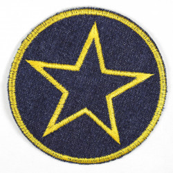 Flickli - the patch! denim round with star yellow