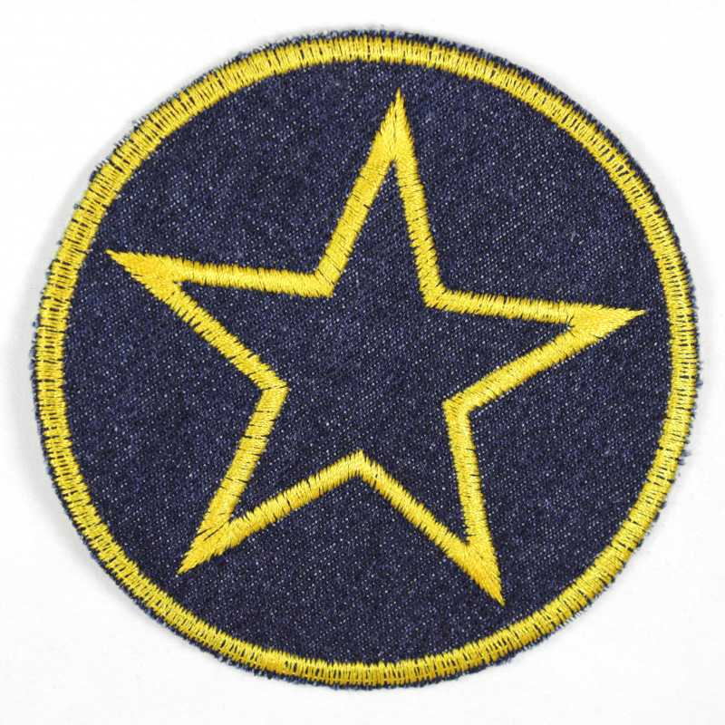 Iron-on patches around jeans with an embroidered star in yellow, iron-on ideal as a knee patch