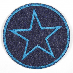 Iron-on patches round jeans with an embroidered star in petrol, iron-on ideal as a knee patch