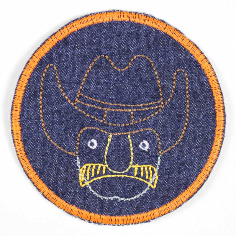 Patches of jeans round with cowboy, partly neon colors, made of tear-resistant denim and ideal as a knee patch