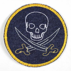 Patches from round jeans with skull and sabers, some neon colors, made from tear-resistant denim and ideal as a knee patch