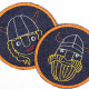 Flickli - the patch! denim round with embroidered skull and saber