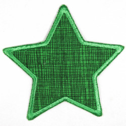 Iron-on patches star green with grid, suitable as knee patches