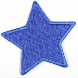 Flickli - the patch! Jeans star grid on blue
