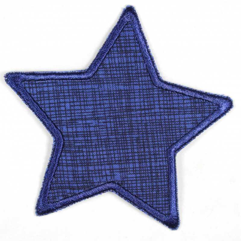Iron-on patches star dark blue with grid, suitable as knee patches