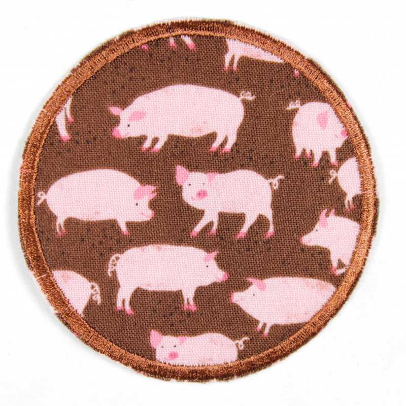 Patch round with happy pigs in pink on brown tear-strengthened and ideal as a knee patch