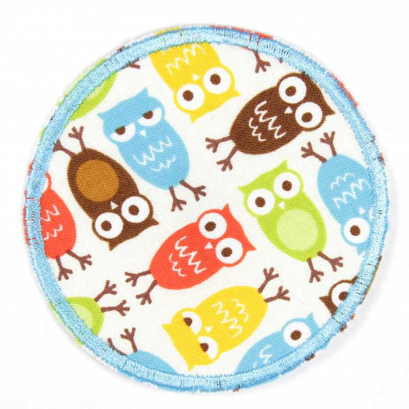 Patches round with wise owls in colorful reinforcement and ideal as a knee patch