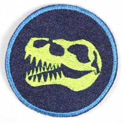 Bügelflicken Dinosaurier gestickter Aufbügler Dino Kopf Jeans blau Flicken zum aufbügeln
