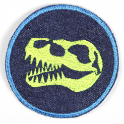 Flickli - the patch! denim round with embroidered dinosaur skull