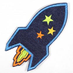 Aufbügler Rakete Jeans Bügelflicken blau gestickte Applikation zum aufbügeln reißfest