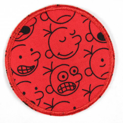 iron-on patches comic faces on round applique pants patches for children