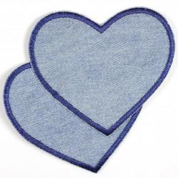 Bügelflicken Herzen Jeans hellblau dunkelblauer Rand
