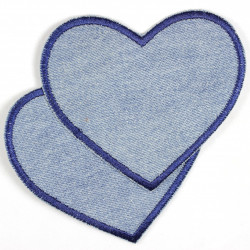 iron-on patches hearts denim jeans light blue blue trim