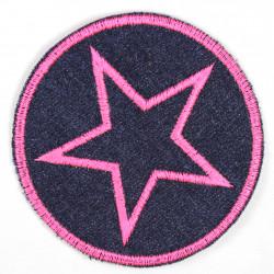 Bügelflicken rund Stern pink gestickt Aufbügler Jeans reissfest als Knieflicken