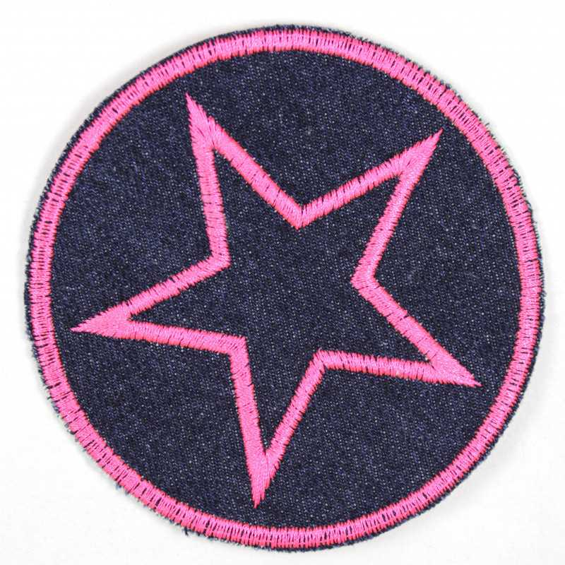 round iron-on patches denim embroidered pink star strong applique usable pants patches