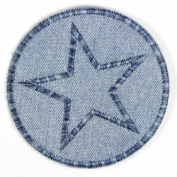 Patches round with star blue Jeans patches light blue to iron on Multicolor