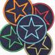 Flickli rund mit Stern multicolor blau