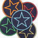 Flickli - the patch! denim round with star multicolor blue