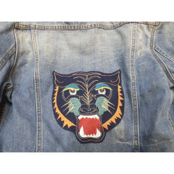 large iron-on patches tiger head embroidered applique on jeans jacket