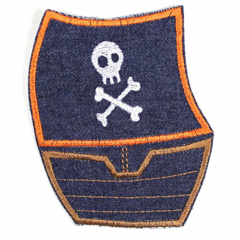 Pirate ship patches made of tear-resistant denim and ideal as knee patches