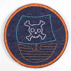 Flicken Jeans mit Piratenschiff zum aufbügeln Hosenflicken geeignet als Knieflicken für Kinder Applikation und Bügelbild