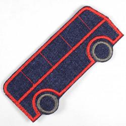 Bügelbild Bus Applikation zum aufbügeln als Knieflicken geeigneter Hosenflicken aufbügler aus Jeans