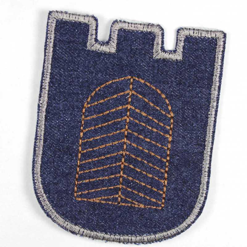 iron on patch castle applique gate blue jeans
