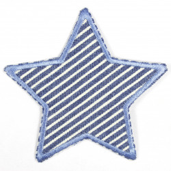 Flickli - the patch! Jeans star with stripes on light blue