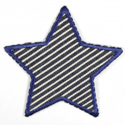 Flickli - the patch! Jeans star with stripes on dark blue