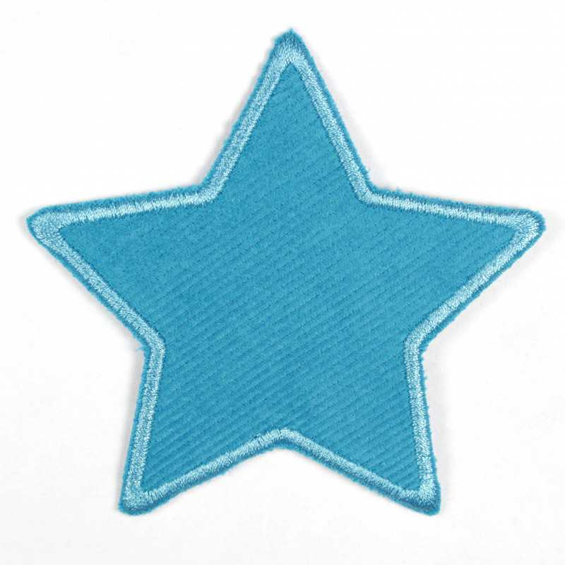 Iron-on patches star blue with a blue border Patch can be used as a knee patch