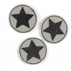 Flicken Bügelbild klein rund 3er Set Bügelflicken Aufbügler Stern schwarz auf grau 3,5 cm mini patches zum aufbügeln