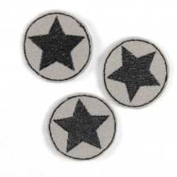 Flickli - the patch! round with black star on grey 3er set iron-on-patches small stars