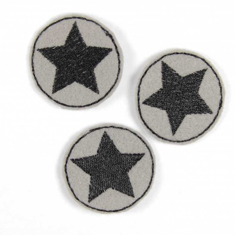 3 iron on patches grey round applique with black star
