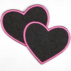 Flicken Herz pink schwarz Aufnäher Bügelbild Bügelflicken Patch Aufbügler Knieflicken zum aufbügeln Applikation 2 große Patches