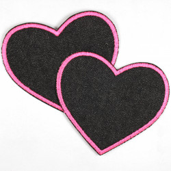 2 black iron on patches hearts textile repair appliques neon pink trim