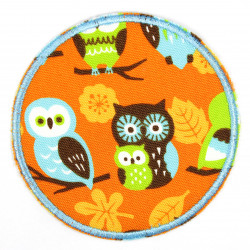 Patch around owls on orange, tear-proof and ideal as a knee patch