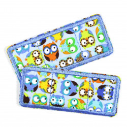 Flickli - the patch! Set colorful owls on blue