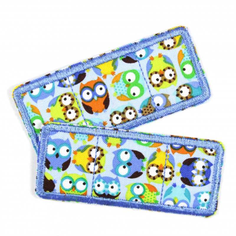 Flickli patch plaster set owls blue, specially reinforced fabric iron-on patches, ideal as knee or elbow patches