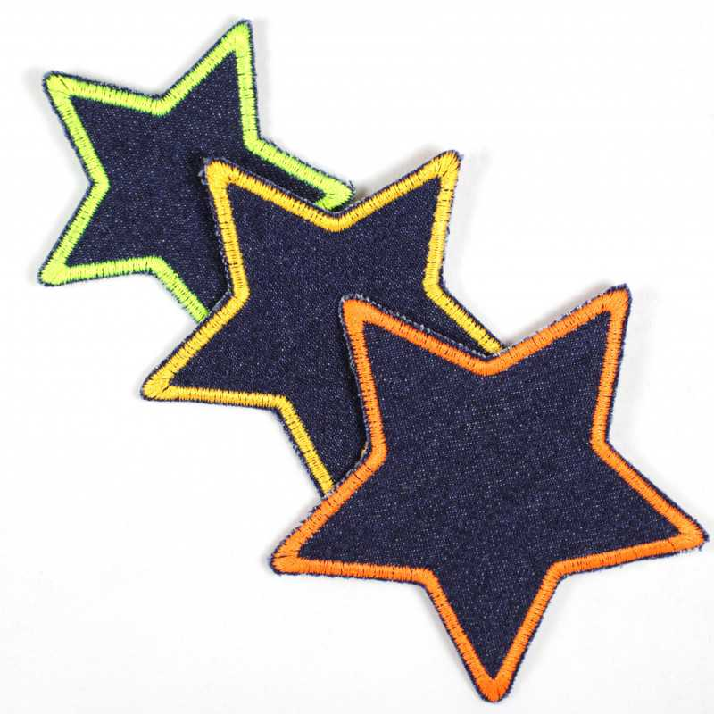 3 iron on patches stars neon colors yellow orange on blue organic jeans repair appliques