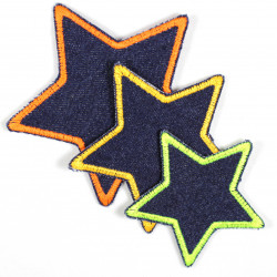 3 textile repair iron on patches stars neon colors on blue jeans for visible mending