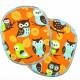 Knielicken Eulen Flicken Set retro XL Eule auf orange 12 x 10 cm 2 Stück Buegelflicken Aufbügler groß für Kinder Hosenflicken