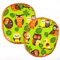 Buegelflicken Set retro XL Eule auf grün 12 x 10 cm 2 Flicken zum aufbuegeln Knieflicken Hosenflicken Aufbügler groß Eulen