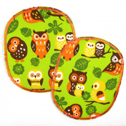 Flickli - the patch! set retro XL with owls on green